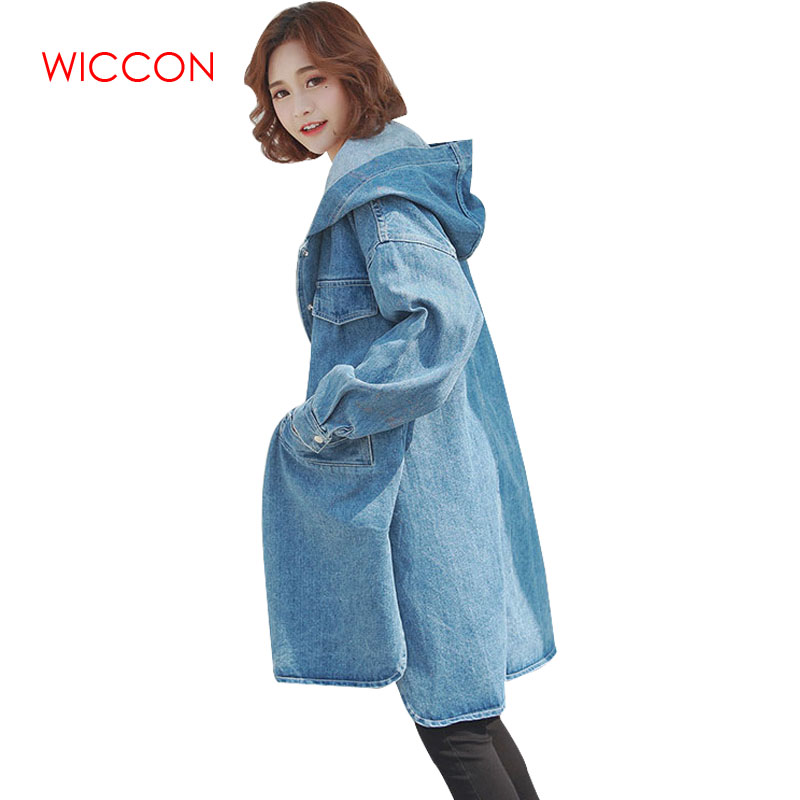 Long Fashion Loose Hooded Casual Hat Tops Cardigan Size Women 2019 Outerwear With Denim Blue Female Autumn Trench Plus 0wHqYg