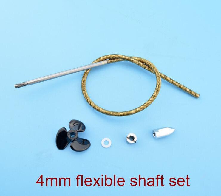 1 Set 4mm Flexible Welle Kit Für Rc Elektrische Boot Modell Weiche Welle + Stick Hund + Scheibe + Propeller + Kugel Mutter-set Länge 350/400mm