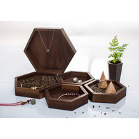 Hexagon Jewelry Display Tray Black Walnut Solid Wood Jewelry Storage Box Earrings Rings Bracelets Pendant Display Stand