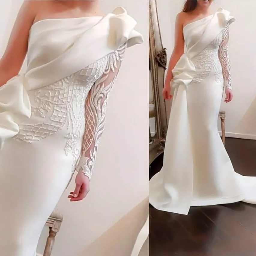 Pure White   Evening     Dresses   vestido longo festa One-Shoulder Lace Appliques Satin Mermaid   Evening     Dress   Sheer Sleeves avondjurk