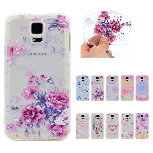 Fleur Peinte Souple En Silicone Cas La Sfor Coque Samsung Galaxy S5