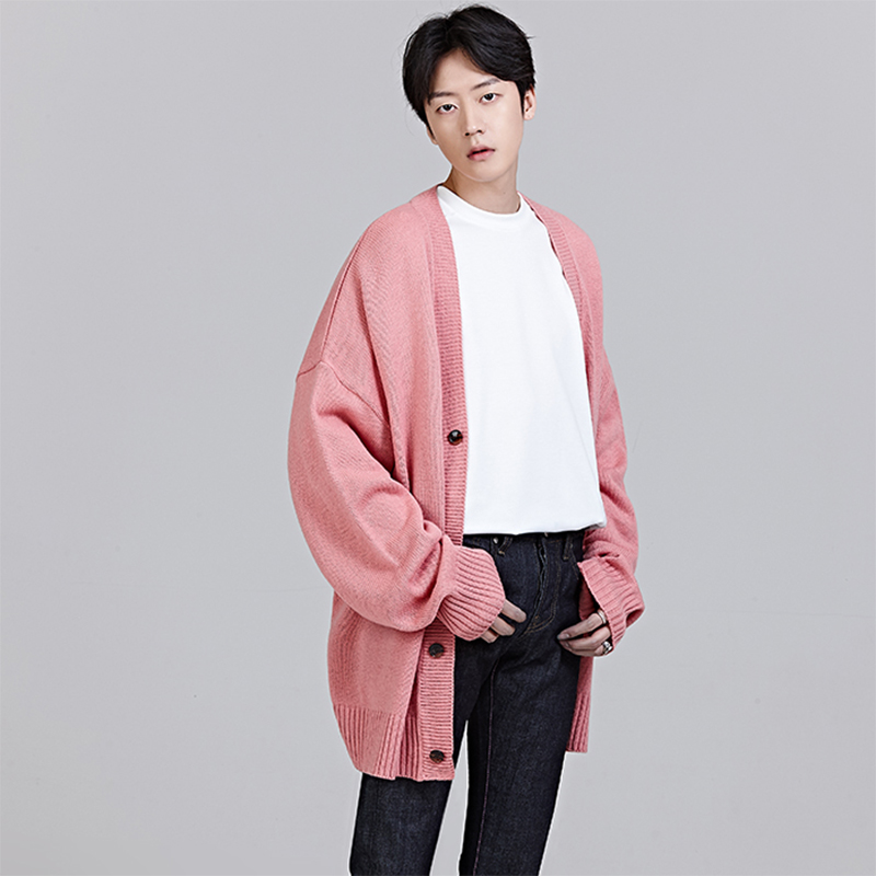 7938e71e900 Men fashion casual loose sweater cardigan coat male pink black blue jpg  800x800 Pink sweater men