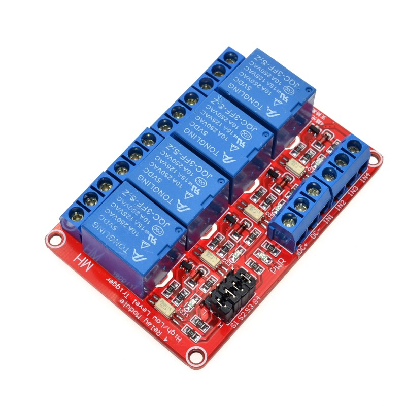 5V 4 Channel Relay Module with Optocoupler Isolation Supports High and Low Trigger voltage 5V, 9, 12V, 24V