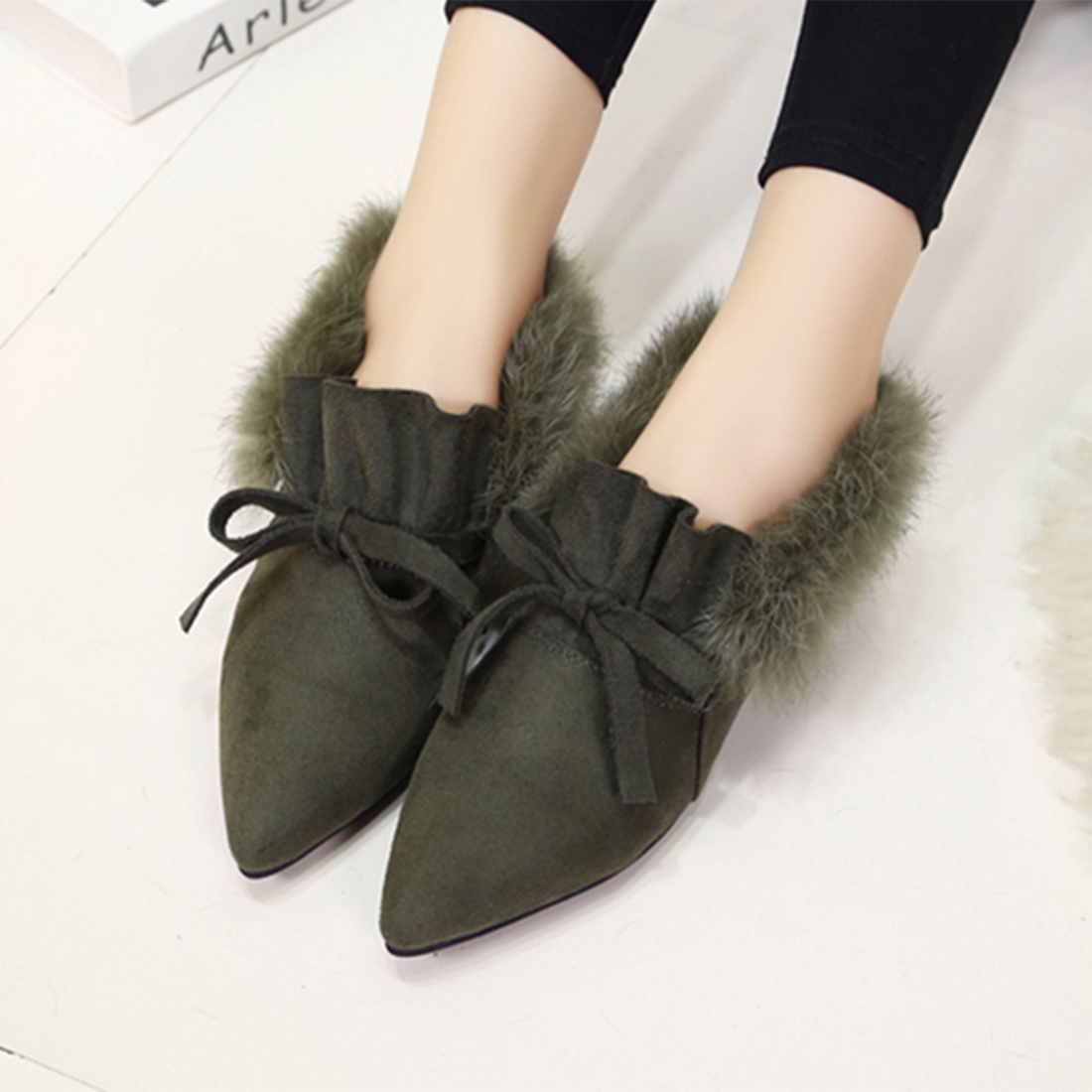 2017 Autumn Winter Women Ballet Flats Lovely Bow Warm Rabbit Fur Comfort Cotton Shoes Woman Pointed Loafers Slip On Flats lovely autumn winter lover cotton padded women