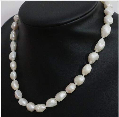 Women Gift Freshwater Elegant White Cultured Freshwater Irregular Natural Pearl Beads 12 14mm Beautiful Women Wedding