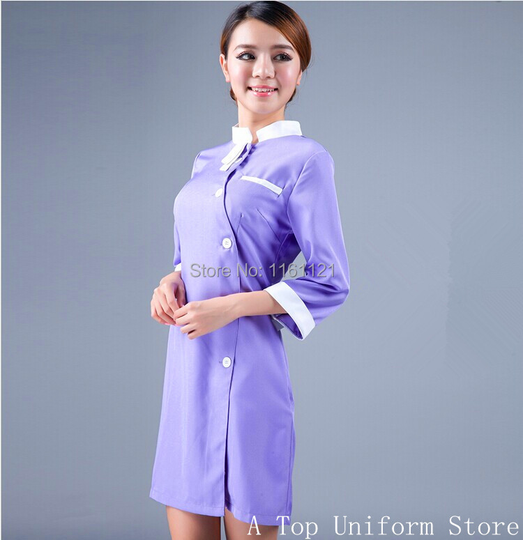 2017 Real Ice Skating Dress Jiu Jitsu Women's Medical Service Or Dental Clinic Working Uniform ,beauty Salon Clothes Mauve Color