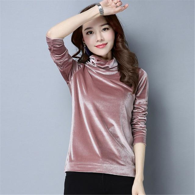 7d57ef486e5143 Six Senses Women Top Fashion Plus Size Long Sleeve Turtleneck Velvet Tops  Women Velvet Knitwear Women Clothing HLM0015