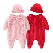 Одежда для новорожденных девочек; сезон осень-зима; Комбинезоны и шапки с цветочным узором; комплекты одежды для девочек; комбинезоны