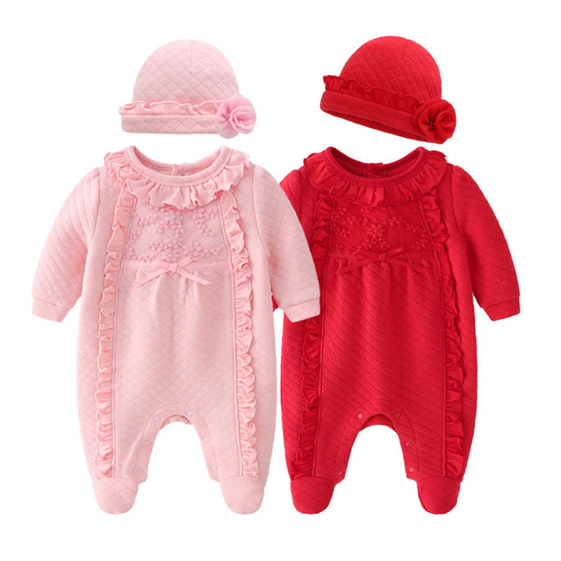 Autumn Winter Newborn Baby Girl Clothes Stringy Selvedge Flowers Jumpsuits & Hats Clothing Sets  Girls Footies Body Suits