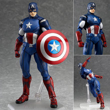 New The Avengers Figma Captain America Figurine with holder 14cm PVC Action Figure Toy Collectible Model Kids Toy