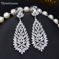 Sparkling Big Cluster Marquise White Cubic Zirconia Crystal Long Dropping Africa Shaped Earrings For Women ER222