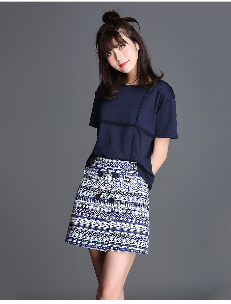 2017 Spring And Summer Women Skirt Bohemian Style Slim Plus Size Button Printing A Line Skirt 4XL
