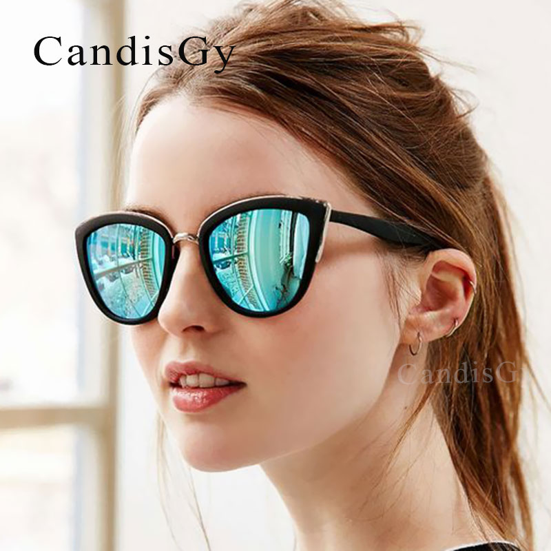Gold Reflective Cat Eye Sunglasses