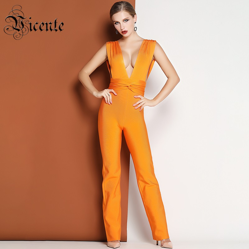 Detail Feedback Questions about Vicente HOT 2019 New Fabulous Bright Orange  Twist Waistline Women Celebrity Party Playsuit Wholesale Bandage Jumpsuit  on ... 1970e6679e91