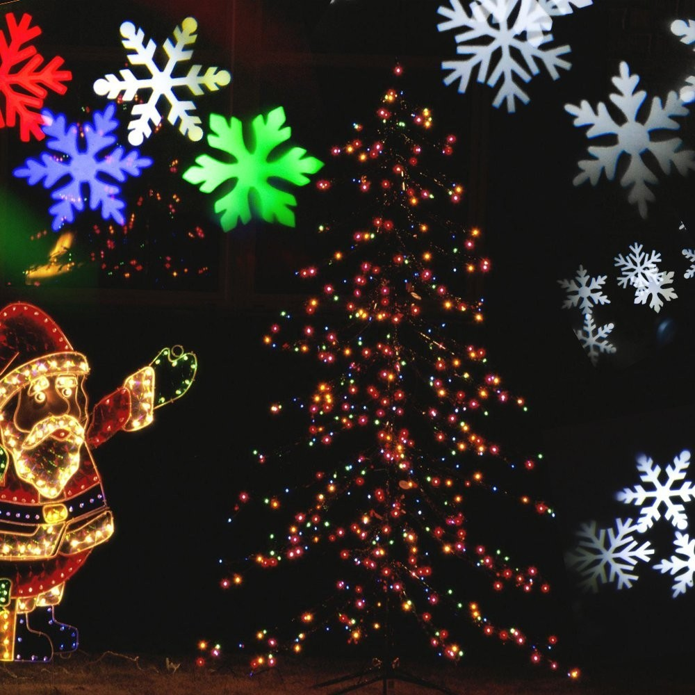SXZM Outdoor Laser Christmas LED Lights Waterproof Snowflake Landscape Projector for Garden, Lawn and Holiday Decoration white snowflake led stage lights waterproof projector lamps outdoor indoor decor spotlights for christmas party holiday lights