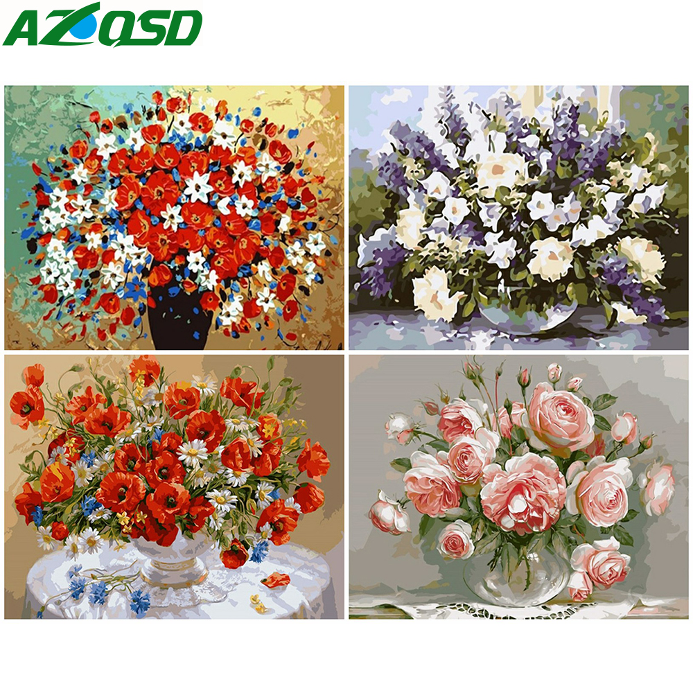 Oil-Painting Numbers Pictures On Canvas Frameless Flower Szyh030 Gift-Set Handwork Digital
