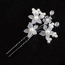 Luxury pearl crystal flower hair hair comb gold and silver hair fork bride headdress ladys hair jewelry wedding jeweler FS-015