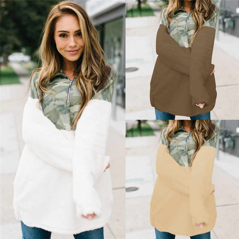 Lange Mouwen voor Vrouwen Mode Herfst Winter Lange Mouw Pluche Top Camouflage Colorblock Rits Decor Turn-down Kraag top