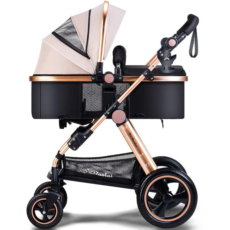 цены Baby Stroller 2 In 1 High landscape Foldable Aluminium kids child Baby Carriage Push Car Poussette Buggy Stroller