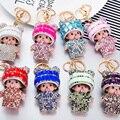Bling Bling Monchichi Encantadoras Sombrero de Cristal Llavero Colgante De la Llave Del Coche Del Bolso Encantos Ornamento de La Novedad Del Producto