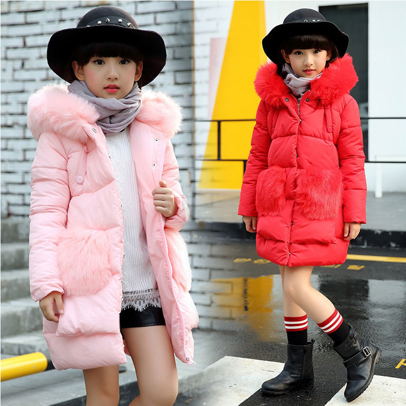 2016 Winter Teenage Girl Clothing Hooded Fur collar Long Cotton Jacket coats For girls Children's Clothes outfit Sport outerwear лазерный дальномер bosch plr 30 c