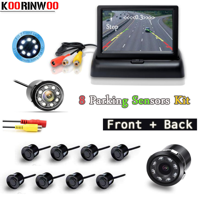 Koorinwoo Auto Video Parktronic 12V Car Parking Sensors 8 Radars Car Monitor Display Front Camera Car Rear view Camera Reversing koorinwoo car parking sensors 6 alarm