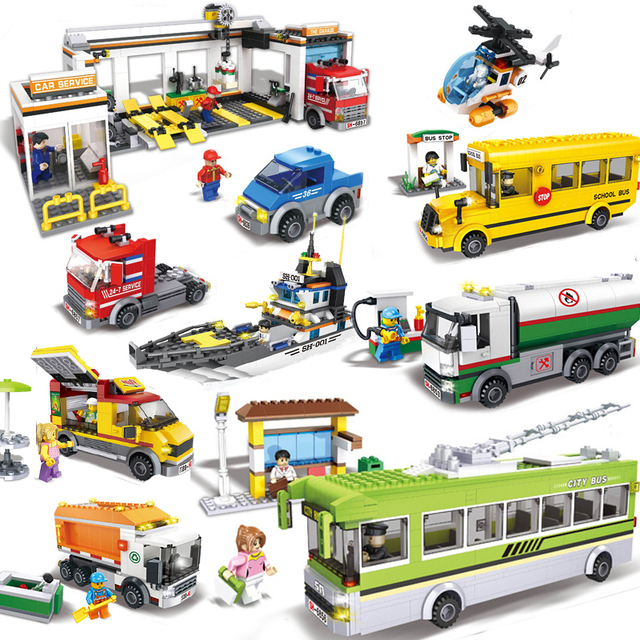 Compatible Legoed Vehicle Tractor City Car Garage School Bus Station