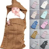 New Knitted Newborn Baby Sleeping Bag Knitted Crochet Hooded Wrap Swaddling Blanket Winter Warm Sleeping Bag