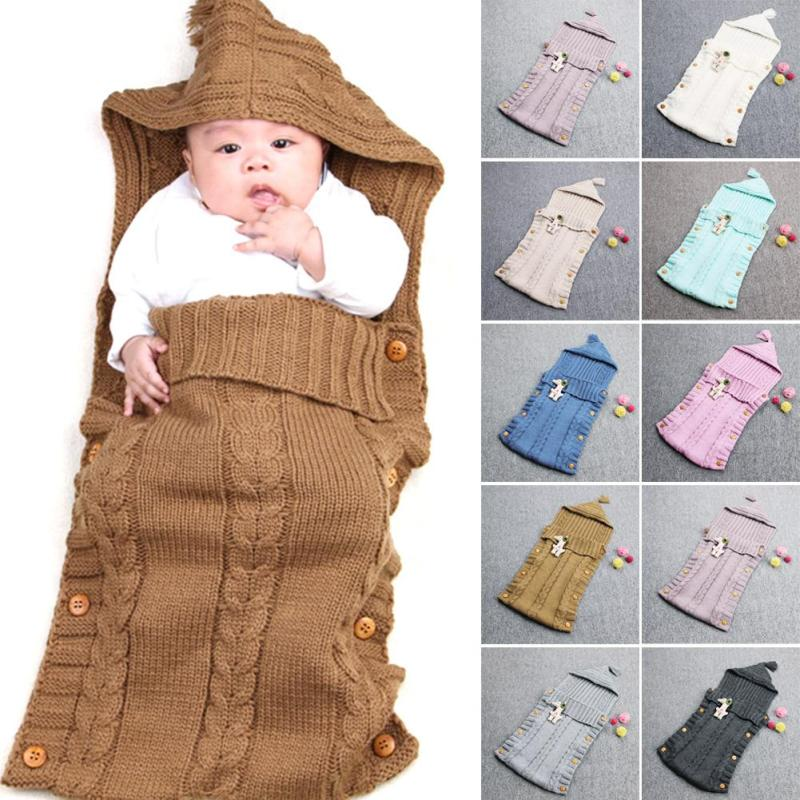 New Knitted Newborn Baby Sleeping Bag Knitted Crochet Hooded Wrap Swaddling <font><b>Blanket</b></font> Winter Warm Sleeping Bag saco de dormir XV2