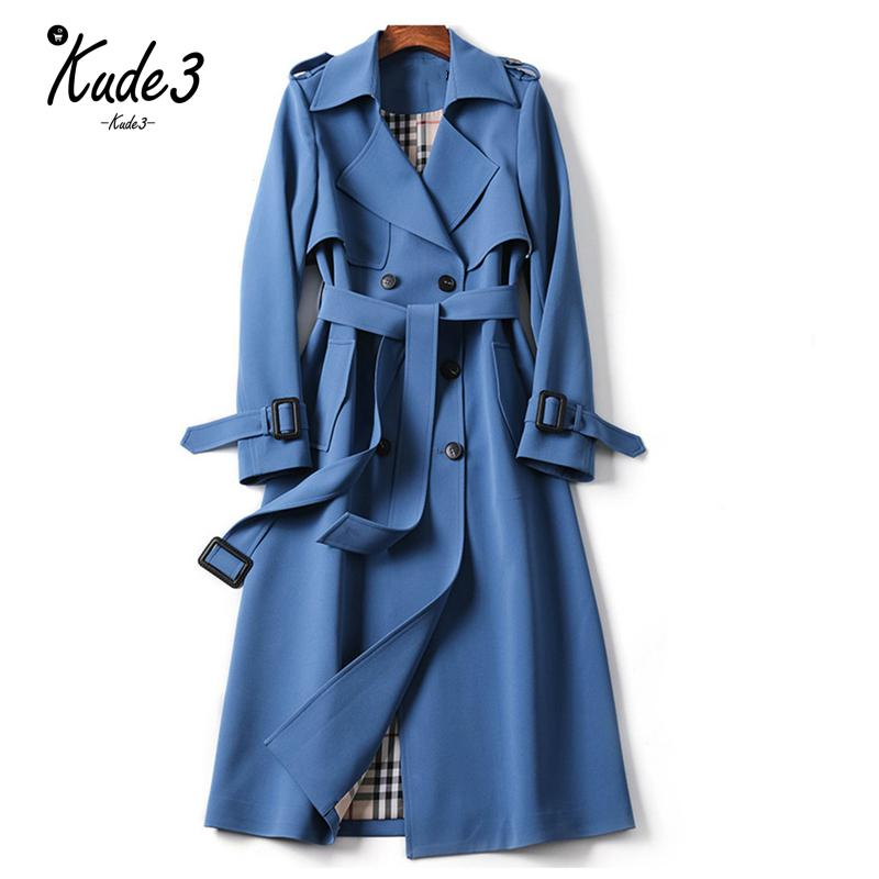 Classic Women Long   Trench   Coat Fashion Double Breasted Belt Casual   Trench   2019 Spring New Lady Business Outerwear High Quality