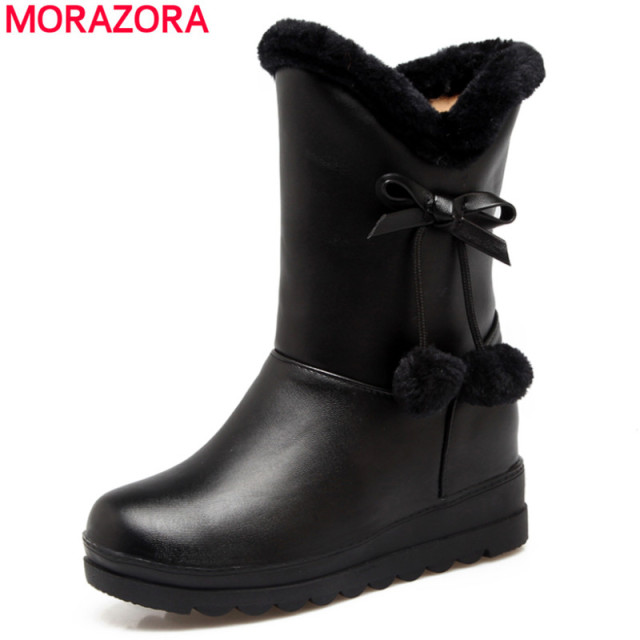 5d45dcbc79 US $28.9 48% OFF|MORAZORA 2018 New fashion snow boots woman down warm ankle  boots women winter thick fur inside platform cotton shoes-in Ankle Boots ...