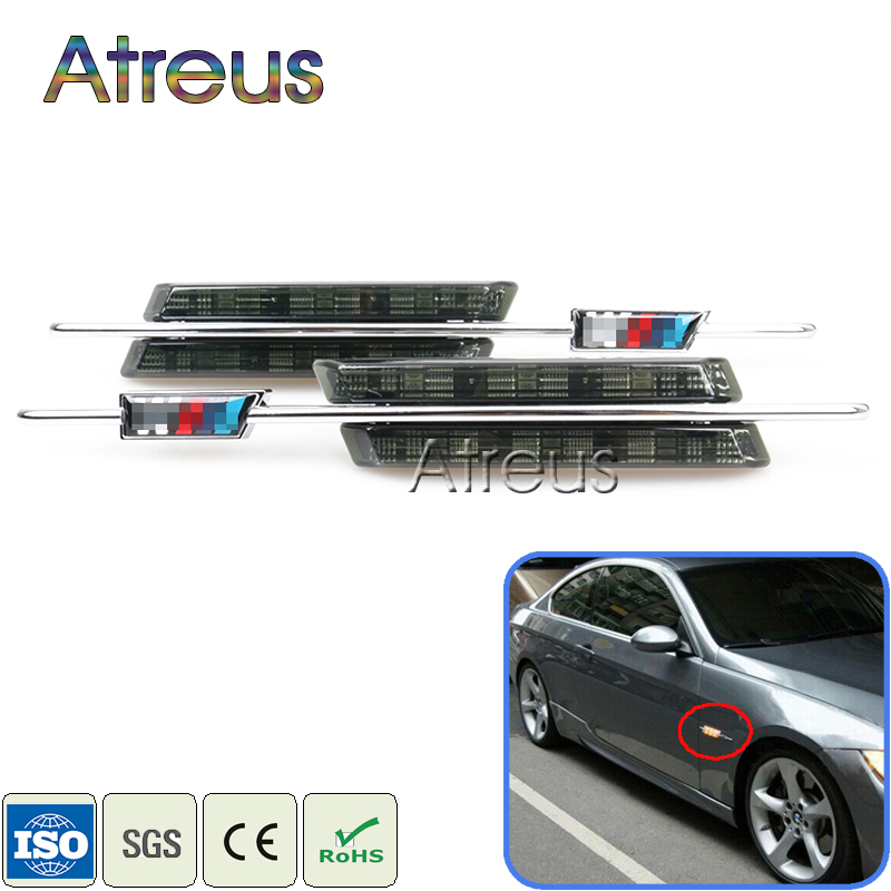 Atreus Car LED Fender Side Turn Signals For BMW E60 E61 E81 E82 E87 E88 E90 E91 E92 E93 accessories M Logo LED Marker Lights 12V