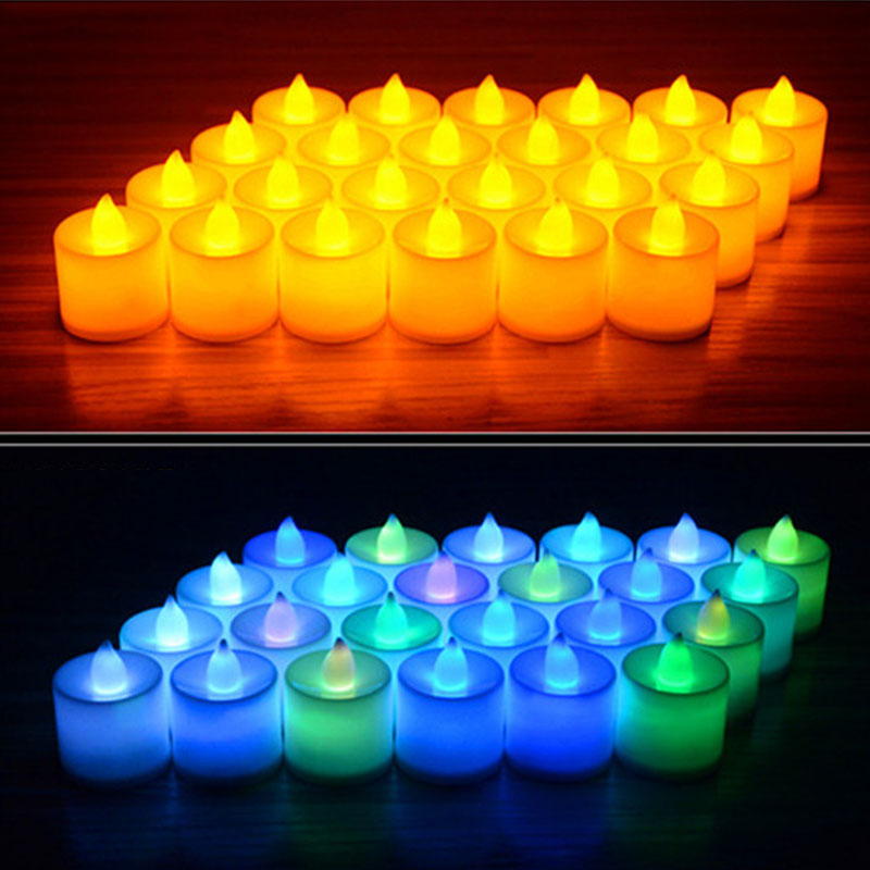 6pcs Battery Powered LED Candle Multicolor Lamp Simulation Color Flame Flashing Tea Light Home Wedding Birthday Party Decoration