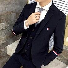 2019 Mens Cotton Fashion Webbing Casual Business Suit Jackets / Men High-end Formal Wedding Dress Groom Blazer ( 1 Piece )