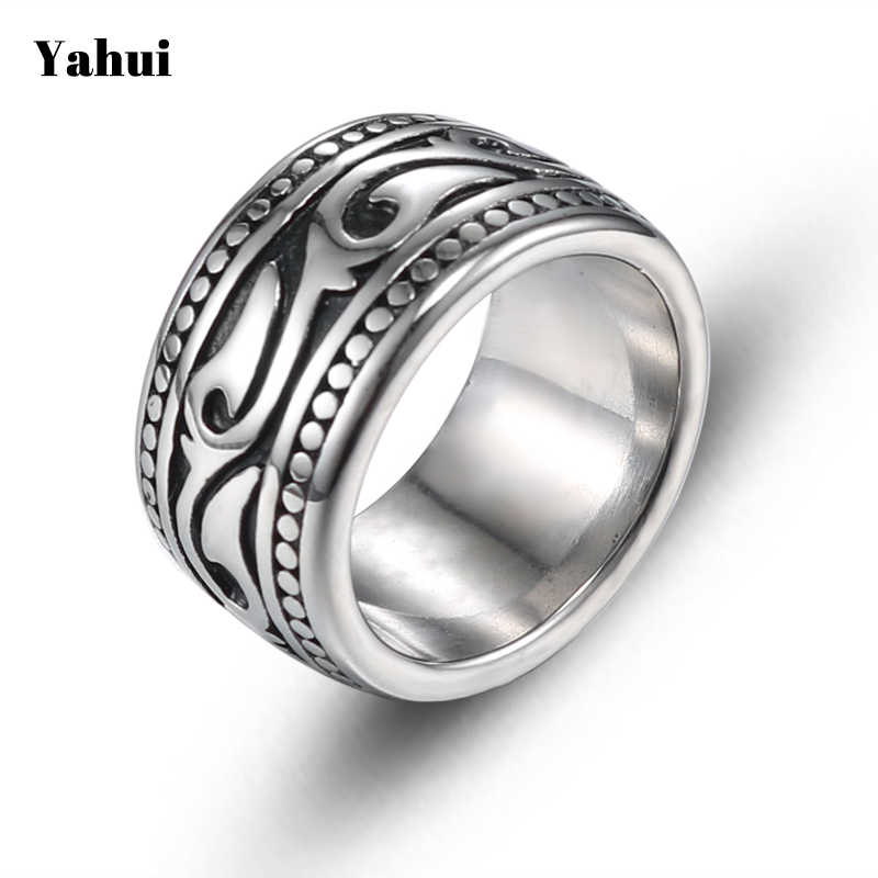 YaHui Zware ring breedte vintage rvs ring black steel silver wedding ring voor mannen en vrouwen Laden