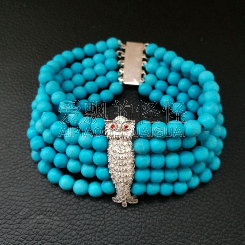 B080137 6MM Round Blue Stone Bracelet