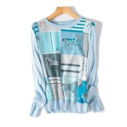 Nueva ropa de mujer europea americana de gama alta boutique Thomas impreso seda tejido camisa de manga larga
