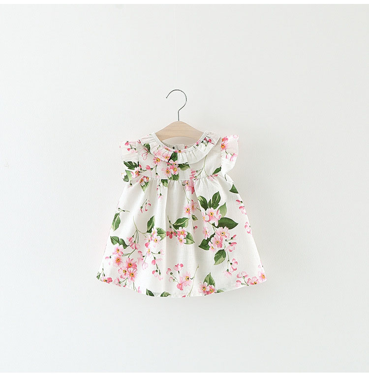 baby girl clothes dress floral flowers for kids children ruffle frock sleeveless summer infant 6 12 18 24 months toddler casual