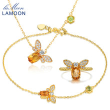 LAMOON Cute Bee 5x7mm 1ct 100% Natural Citrine 925 Sterling Silver Jewelry 14K Gold Plated Ring Necklace Bracelet Jewelry Set