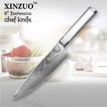 XINZUO 8 inch chef knife High quality sharp chef knife Japanese 73 layers VG10 Damascus kitchen knife steel handle free shipping