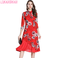 2018 New Women Spring Summer Dress Chinese Style Retro Printed Red Improved Cheongsam Dress Luxury Vintage Runway Long Dress