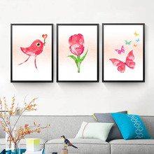 Watercolor Canvas Painting Beautiful Rose Flowers Wall Picture Modern Print Poster For Room Decor