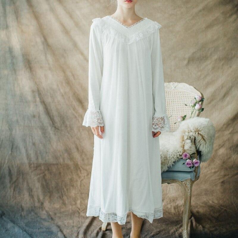 CFYH 2018 Autumn V-neck Sexy Long Sleep Lounge Sleepwear Long Sleeve Lace Princess Vintage Nightgown Women Sleeping Dress