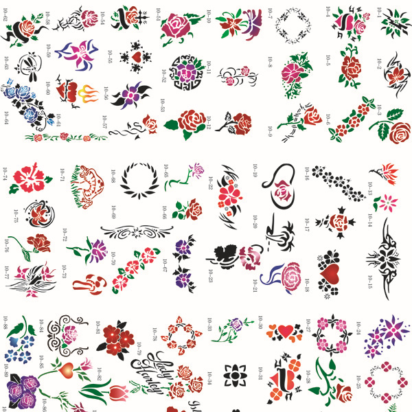 [Hot Sale] Airbrush Tattoo Stencil  Template BOOK 10,  100 designs (Colorful Flowers),4 designs on each A4 sheet. on sale 100