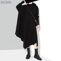New 2018 Korean Style Women Autumn Winter Black Gray Sweater Dress Long Sleeve Plus Size Stretchy Girls Asymmetrical Fall Dress