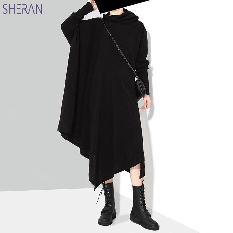 Nouveau 2018 Style coréen femmes automne hiver noir gris pull robe à manches longues grande taille extensible filles asymétrique automne robe