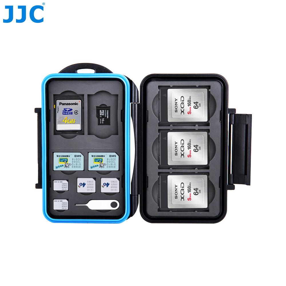 JJC Memory Card Case SIM CF Micro SD Storage Cards Box MSD Slots Cases Procter Holder Water-Resistant Camera