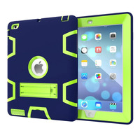 WES Hit Color Robot Series Cool Armor Shock Proof Silicone Pc Kickstand Case For Apple IPad