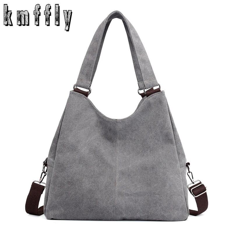 KMFFLY Women Handbags Casual Ladies Canvas Bigtote Feminina Hobos Bolsas Leisure Vintage