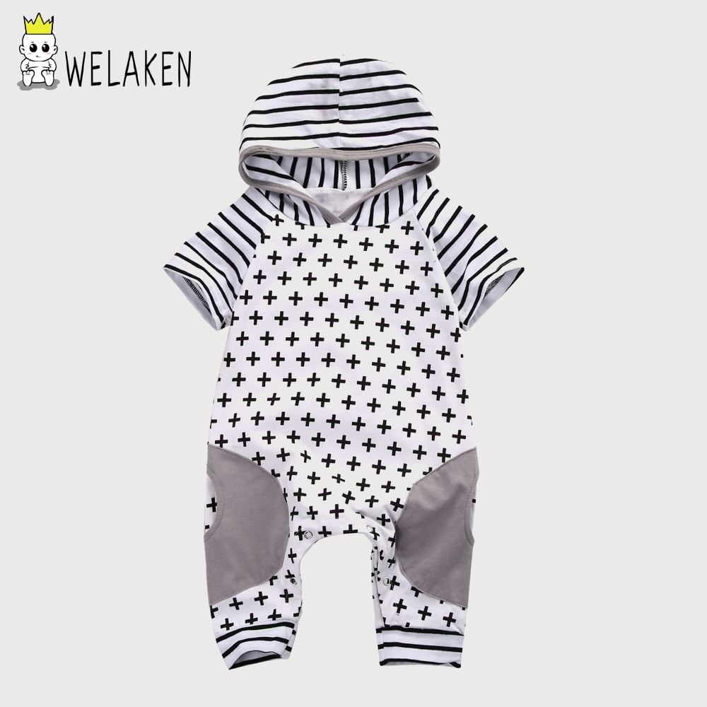 Baby Kids Cross Pattern Romper 2017 Autumn Children Boys Girls One-piece Kid Short Sleeve Striped Apparel Infant Hooded Rompers